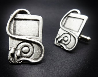 Apple Ipod music player cufflinks silver plated gift for music lovers 3D iPod with headphone detail pair of cufflinks