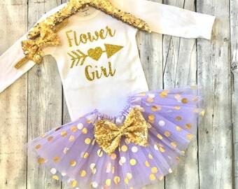 Flower girl outfit, Flower girl shirt, purple, lavender, gold, flower girl tutu, flower girl gift, flower girl shirt, purple gold, lavender