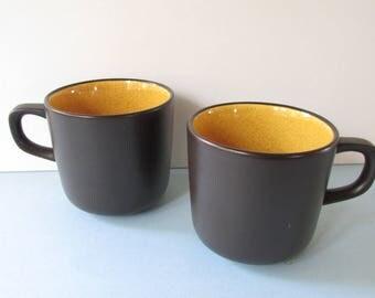 "1970's Mikasa Orange Sherbert Mugs, Cups, 2 pieces/ Vintage Mikasa Terra Stone Pattern #7005. Sienna and Espresso Brown Cups. 3 1/2"" W X 3 H"