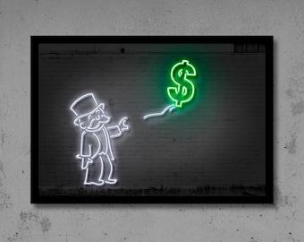 Dollar Balloon Art Money Art Neon Art Gift for Him Man Cave Street Art Dollar Art Monopoly Art Monopoly Print Home Décor Dollar Art