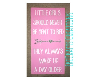 Little girls should never be sent to bed Wood Painted sign Peter Pan