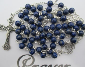 Rosary No. 55 Blue Lapis Lazuli in Silver-Filled
