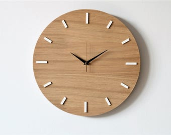 "15,7 ""(40 cm), OAK, wall clock, modern clock, natural wood, wooden clock,"