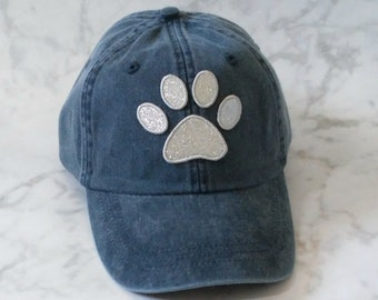 Embroidered Hat /Paw Print Hat/Custom Glitter or Fabric Paw Print/Baseball Cap Embroidered/Dad Hat/Bling Hat/Women's Cap/Dog Hat