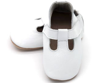 T-strap white baby shoes, white, boy or girl, baptism shoes, christening shoes, dressy leather shoes