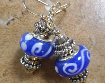 European beaded earrings in blue and white and silver tone - ME127
