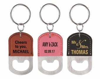 3 (Three) Custom Bottle Opener Key chains bundled for Family and Friends, 3-Set Key rings for any occassion, Personalized Wedding Favors.