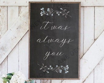 INSTANT Download, Printable Chalkboard Wedding Sign, It Was Always You, PDF, DIY