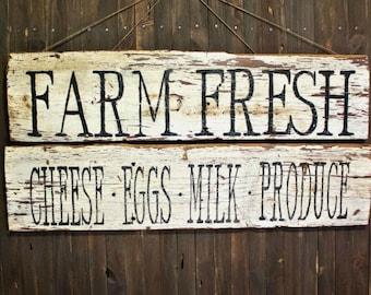 Rustic Farm Fresh Produce Signs - Set of 2
