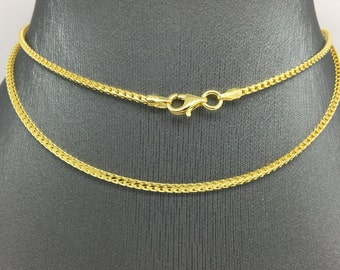 925 Sterling Silver Gold Plated Franco Chain