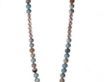 LOLITA NECKLACE * mixed amazonite stones with golden swarovski accent