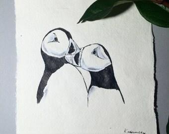 Puffins, Original Ink Art
