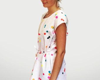 Confetti Dress 100%  cotton ladies sleeve dress