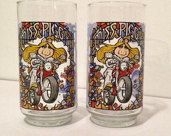 Miss Piggy Great Muppet Caper Glasses - 1981 - Jim Henson - Miss Piggy McDonald's Glass - Miss Piggy on a Motorcycle - Set of 2