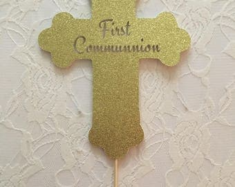 First Communion Cross Cake Topper- First Communion Cake Topper -Custom Cake Topper
