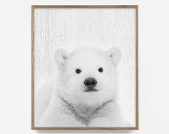 bw baby polar bear print, peekaboo animal, artic nursery art, printable animal art, baby animal print, alaskan baby art, baby nordic art