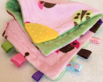 Pink Ladybug Cuddle Blanket with Teething Corner - Oral Motor Stimulation, Soft Fidget Blanket, Fidget Toy