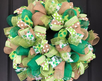 St patricks wreath - burlap wreath - st patricks day wreath - st patricks decor - spring wreath - St. Patrick's Day wreath - st patricks