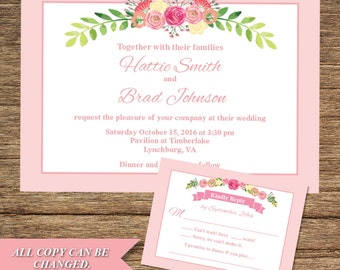 Victorian Flower Invitation And Respond Card FLW 06 INV RC Digital Download