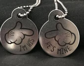 Set of 2 Personalized He's Mine  I'm His Charm Necklaces PD1002-2 Custom Birthday Gift Valentine's Day Gift Christmas Gift
