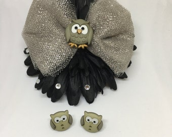 Little Gray Owls Hairbow Set