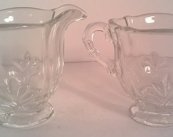 Vintage Clear Indiana Glass Creamer and Sugar Bowl Set