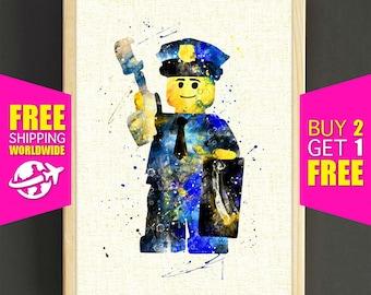 Lego print, Lego watercolor print, Lego Man art, Lego Policeman poster, wall art, home decor, kids room, nursery gifts 545s2g