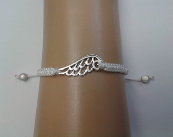 Angel wing bracelet - angel wing jewelry - guardian angel - memorial bracelet - white bracelet - adjustable bracelet - angel wing charm