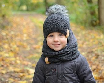 Toddler Boy Knit Hat, Wool Baby Boy Hat, Toddler Boy Winter Hat, Faux Fur Pom pom Baby Boy Hat, Knitted Boys Beanie,Grey Beanie for Baby Boy