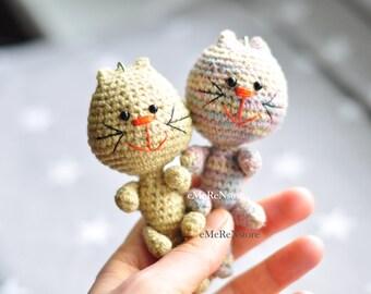 FREE SHIPPING.Amigurumi Cat Stuffed Plush Keychain.Cat amigurumi key ring,cute handmade crochet animal, excellent gift or personal accessory