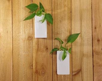 Steel Floating Wall Pocket Planter-- Modern Hanging Design -- Flush Mounting -- White Powder Coated Finish