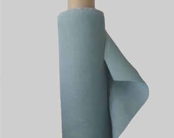 Linen Fabric Duck Egg Blue Hollyhock 100% Pure Linen