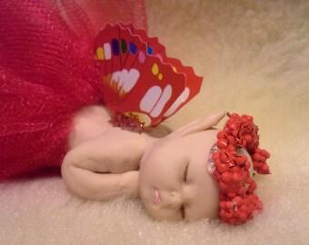 Baby Fairy Miniature Fairy, Clay Fairy, Sleeping Fairy, Fairy Art