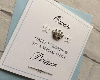 Personalised Handmade Baby's 1st First Birthday Card: Prince / Princess Crown (Boy or Girl)