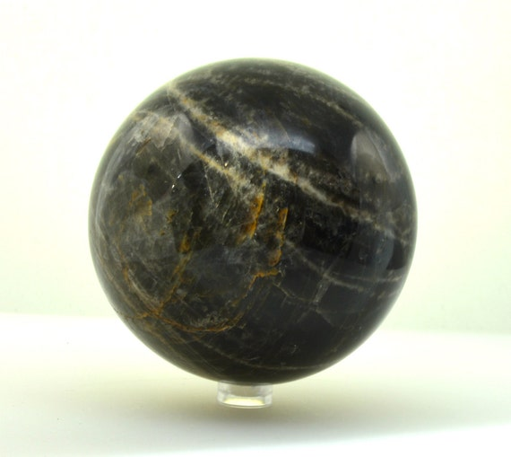 XL Black moonstone crystal ball large moonstone sphere 93