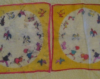 Pair of Vintage, Antique Silk Children's  Handkerchiefs