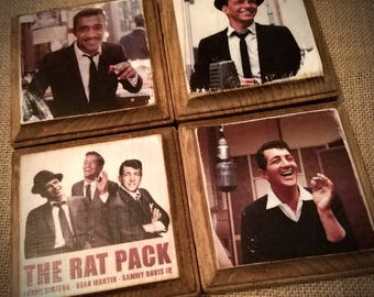 "The ""Rat Pack"" Wood Transfer Coaster set * Dean Martin * Frank Sinatra * Sammy Davis Jr. * The Rat Pack"