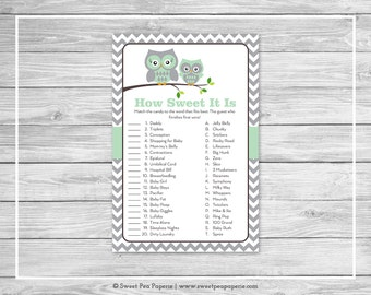 Owl Baby Shower How Sweet It Is Game - Printable Baby Shower How Sweet It Is Game - Green Owl Baby Shower - How Sweet Shower Game - SP137
