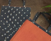 SALE  was 34.52     Reversible Bags Handmade Quilted Bags Hand Blockprinted Bags Fabric Shopping Bag