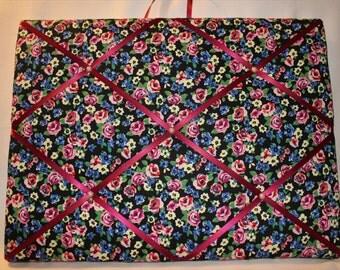 Floral memo board, Memo board, Pin board, Fabric memo board, Shabby chic memo board, display board, photo board