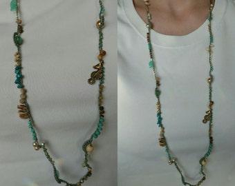 Coastal Crochet Beaded Necklace