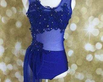 Custom dance costume with swarovski stones, custom Lyrical dance costume or contemporary dance costume ; lyrical Dance Costume