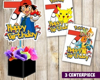 3 Pokemon centerpieces, Pokemon printable centerpieces, Pokemon  7th party supplies, Pokemon birthday, decorations, Pokemon instant download