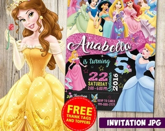 Princess Disney Invitation, Princess Disney Party, Princess Disney Birthday Invitation, Princess Disney Invitation, Princess Disney