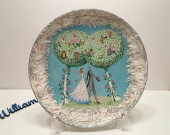Decoupage Plate, Plate in Decoupage technique, Wedding gift idea, Gift for her, Valentines day gift, Round handmade plate, Decorative Plate