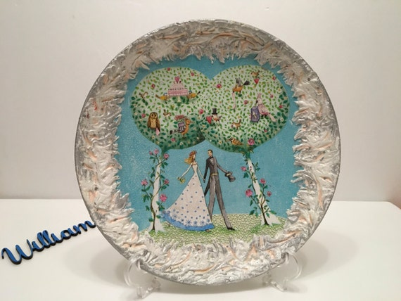 Decoupage plate Bride and groom Wedding gift idea Gift for a couple Bride and groom gift Round handmade plate Decorative plate Xmas gifts