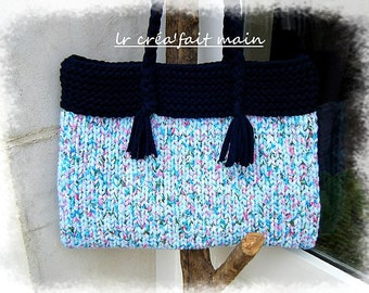 Large knitted blue and pink liberty recycled cotton tote bag