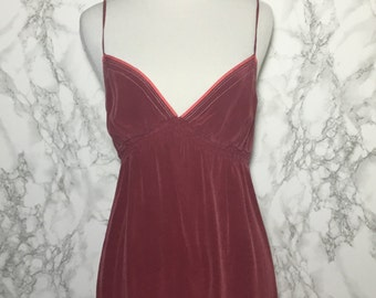 Silk Cranberry Mini Dress Spaghetti Strap