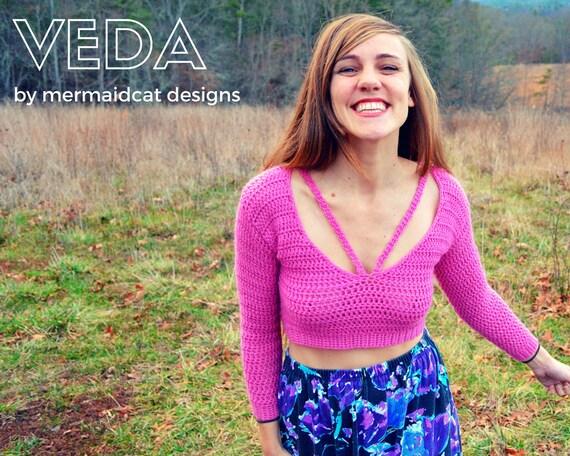 Crochet crop top sweater pattern -Veda