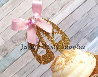 Set of 12 Glitter Ballerina Cupcake Toppers, Gold and Pink Ballerina Shoes Toppers, Slipper Party Toppers